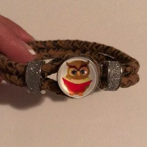 Jewelry - Brown leather rope bracelet with owl snap